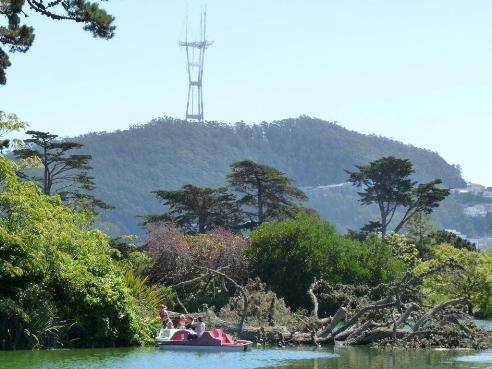 Stow Lake with Sutro Forest