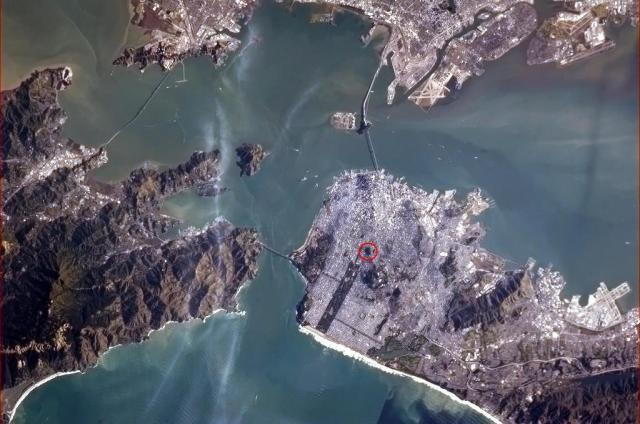 space station view of san francisco