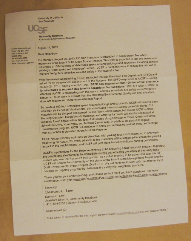 ucsf letter abt 'fire safety' work