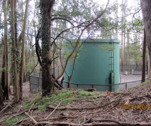 a very visible water tank