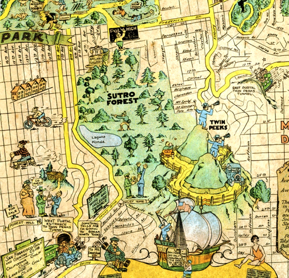 san francisco  sutro forest  px. a  san francisco tourist map shows sutro forest  save mount