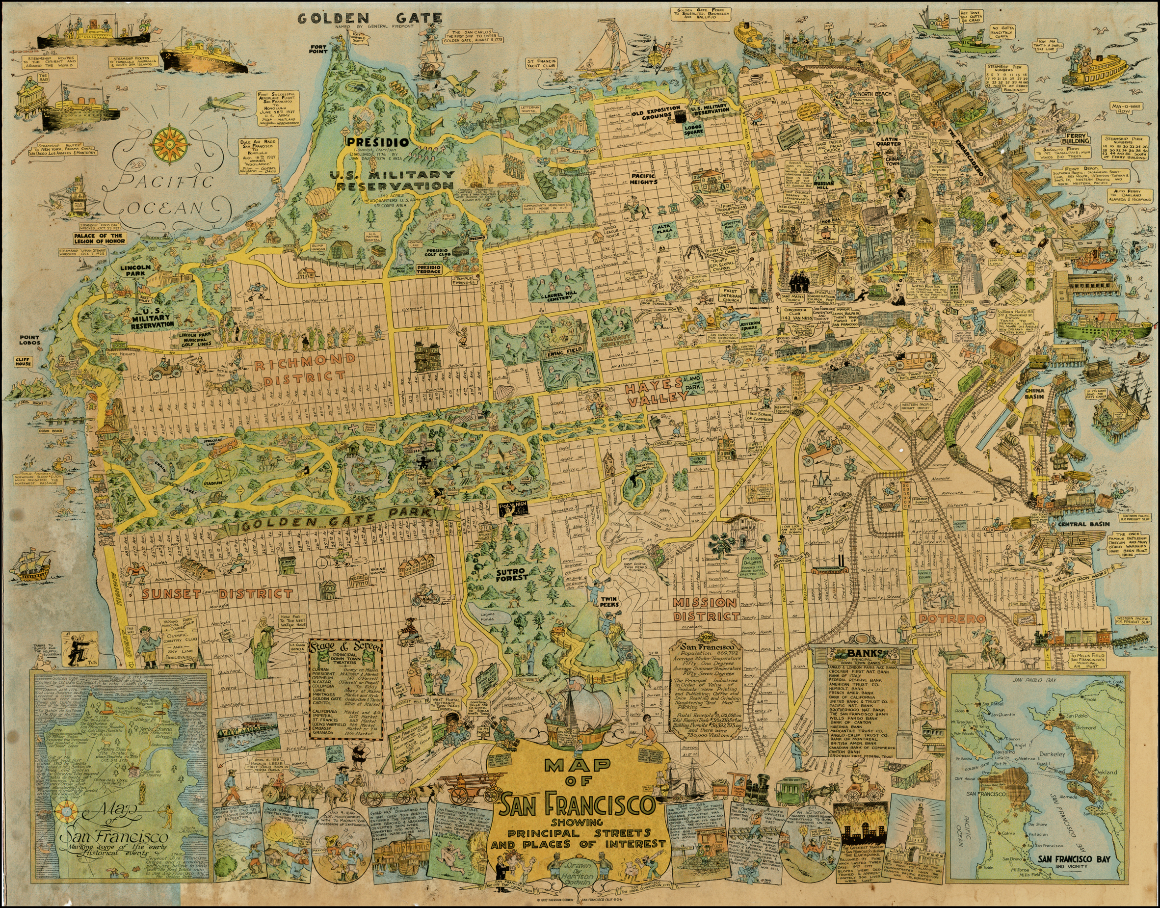 A 1927 San Francisco Tourist Map Shows Sutro Forest – San Francisco Tourist Map