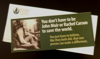 sierra club mailer referencing John Muir and Rachel Carson