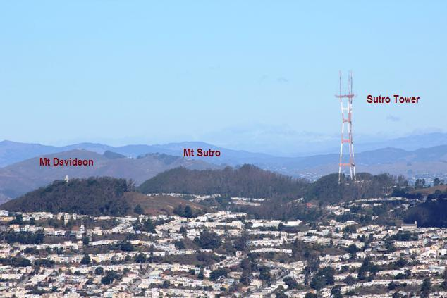 Mt Davidson and Mt Sutro 2015-12-25 labeled Copyright Tom Roop