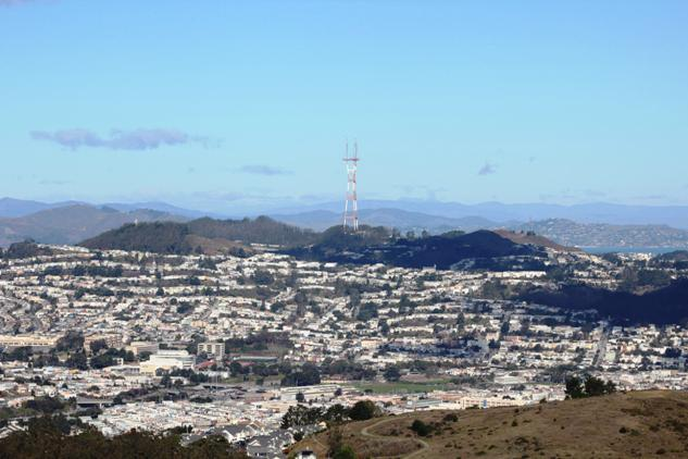 Mt. Davidson and Sutro Tower seen from San Bruno Mt. 2015-12-25 copyright Tom Roop